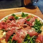 San Daniele wood fired oven pizza! Arugula, hand pulled mozzarella, prosciutto San Daniele, shav