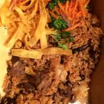 Take out teriyaki filet, hibachi rice and veggies