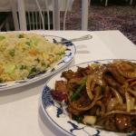 Veggie fried rice, Mongolian beef
