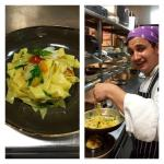 Chef Mario preparing a pasta dish in the Pino's kitchen