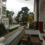 The balcony with a view of the sea through the tree line