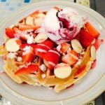 Eton Mess Waffle with White Chocolate buttons and fresh Strawberries
