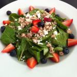 Spinach fruit salad with goat cheese and candied pecans!