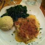 Onion crusted grouper, sauteed spinach, mashed potatoes - Yum!
