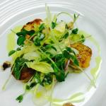 Seared scallop, cauliflower puree, apple & celery heart salad, candied walnuts, toasted curry oi