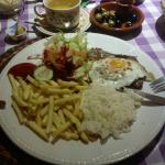 Bitoque with fries and rice