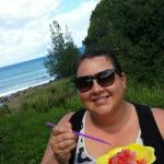 Lauren from Wisconsin enjoying Lorraine's shave ice in their beautiful backyard!