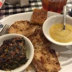 spinach, port chops, apple sauce & cornbread
