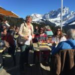 The terrace with the manager and the  Diablerets in background.