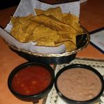 Chips with salsa and beans