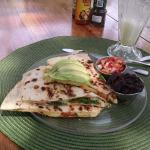 Veggie quesadilla and pineapple/banana/coconut water smoothie