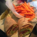 Blackened Chicken Wrap & Sweet Potato Fries