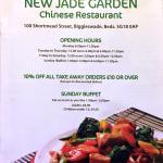 Jade Garden, Biggleswade, Menu