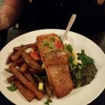Fillet of Salmon, homemade chips, Spinach