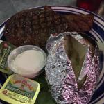 Ribeye was very good. Small seating area. The full rack of ribs also looked very good. Homemade