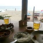View of the beach from the sitting and dinning area