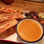 Pulled pork club sandwich and spiced butternut squash soup. £7.75