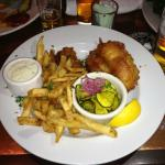Salmon and Chips, with pickled cucumber and onion