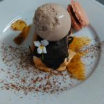 Coffee bar with but brittle, chocolate macaron and tonka bean ice-cream