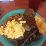 Steak, fajitas, Mac and cheese, bourbon chicken, Salisbury steak and cornbread