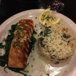 Grilled salmon with mushroom & spinach risotto