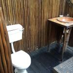 Outside shower, toilet and wash basin