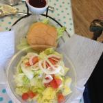 Burger with side salad