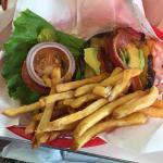 Bacon cheeseburger with avocado