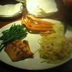 grilled Salmon, Shrimp Alfredo, Crab legs, w/ fresh green beans