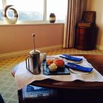 Cream tea in the living room of the harbour suite