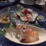 Amazing sashimi including a scampi
