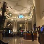 The classic entrance/reception hall of the hotel.