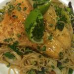 Salmon in a bed of vegetable noodles