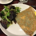 Crepe with spinach and cheese with egg. Nice light side of salad. Quite good coffee.