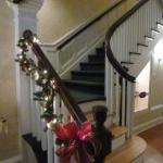 Stairwell decorated for Christmas