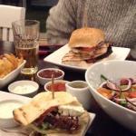 Macho burger. Greek lamb pitta. Chips, salad and dips.