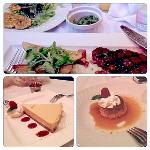 Dinner (top) and deserts (cheesecake, flan)