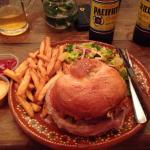 Delicious tuna burger with fries and Pacifico beer.