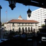 View through front balcony overlooking Colorado Blvd, City Hall and San Gabriel Mtns