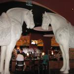 Large Horses at the entrance to the dining area.