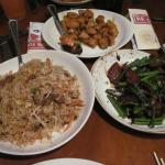 Mongolian Beef, Fried Rice Combo and Changs Spicy Chicken.