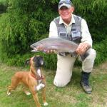 Tongariro Fishing Guide Mike Huges with Pumpkin hotel dog