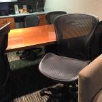 Cheap office furniture used as a dining table! They called it Hyatt House?! It feels nothing lik