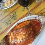 Delicious baked eggplant parmigiana that just melts in your mouth, paired with a lovely house Ca