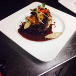 Grilled beef tenderloin toped with king oyster mushrooms and red wine veal Demi!