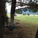 Hammock just outside the two-story cabin