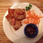 Slightly eaten prawn toast. Yum!