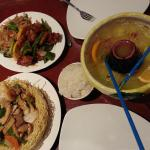 Green Papaya Scorpion Bowl, Phoenix and Dragon and House special pan fried noodles