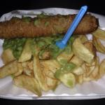 Chips ,sausage and peas from the takeaway