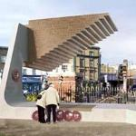 Artist impression. The main bit's up but the top won't go on 'til later this year.